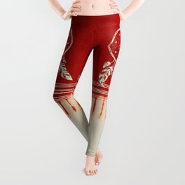 ARETERSTING V50 - Original Red Bohemian Moroccan Artwork Leggings