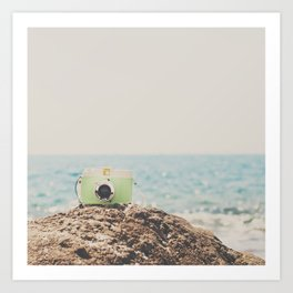 """the """"dreamer"""", a mint green camera with the ocean behind it Art Print"""