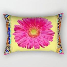 Yellow, Blue & Orange Monarch Butterflies, Gerber flower Pattern Rectangular Pillow