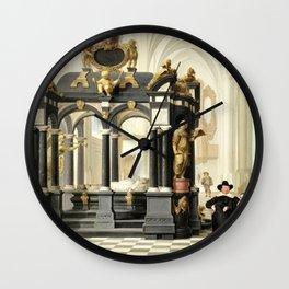 Dirck van Delen - A Family beside the Tomb of Prince William i in the Nieuwe Kerk, Delft - Digital Remastered Edition Wall Clock