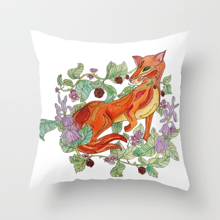Fox in the flowers Throw Pillow