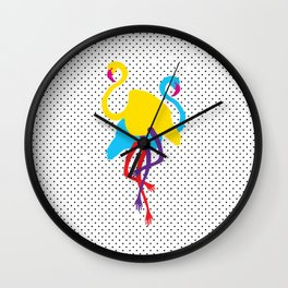 Animal Mardi Gras (Flamingo Yellow Blue) Wall Clock