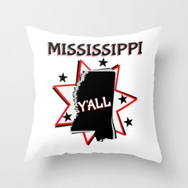 Mississippi State Pride Y'all Throw Pillow