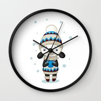 sheep Wall Clocks featuring Sheep by Freeminds