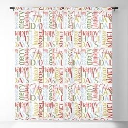 Holiday Typography with Merry Christmas Joyeux Noel Feliz Navidad Happy Hanukkah Blackout Curtain