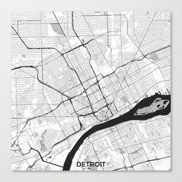 Detroit Map Gray Canvas Print