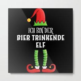Bier trinkende Elf Partnerlook Weihnachten Metal Print