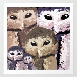 Baby Owl and his family  Art Print