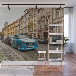 Trabant on the street of Prague Wall Mural