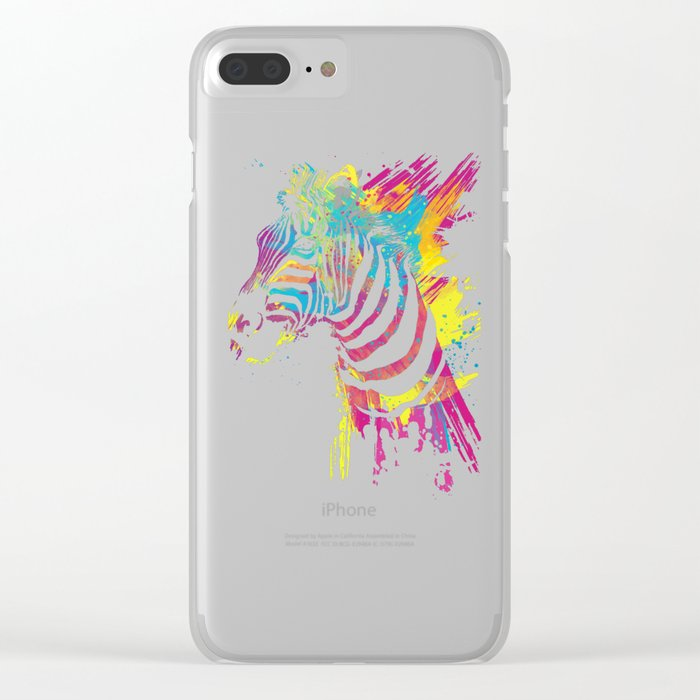 Zebra Splatters Colorful Animals Clear iPhone Case