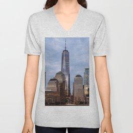 Skyline of Manhattan at dusk, New York Unisex V-Neck