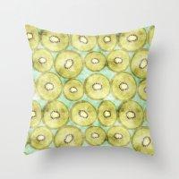 kiwi Throw Pillows featuring kiwi by kociara