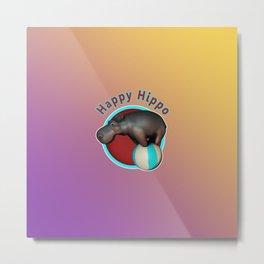 Happy Hippo Tumbler Metal Print
