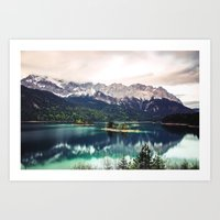 Green Blue Lake and Mountains - Eibsee, Germany Art Print
