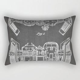 Starwars Tie Bomber Patent - Tie Bomber Art - Black Chalkboard Rectangular Pillow