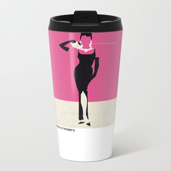 No204 My Breakfast at Tiffanys minimal movie poster Metal Travel Mug