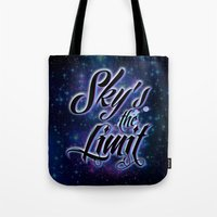 2pac Tote Bags featuring Sky's The Limit by Gold Blood