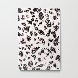 Tripple Terrazzo - Rose Pink Black & White Modern Speckle Pattern Metal Print
