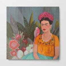 Frida a la casa azul Metal Print
