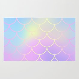 Pink Blue Mermaid Tail Abstraction Rug