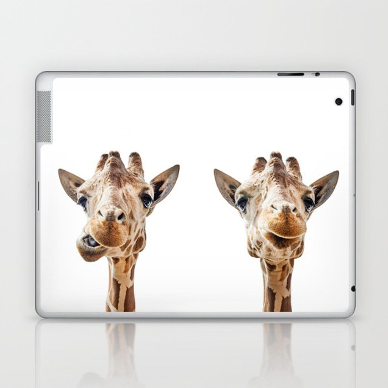 Funny Giraffe Portrait Art Print, Cute Animals, Safari Animal Nursery, Kids Room Poster, Wall Art Laptop & iPad Skin