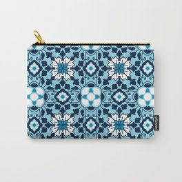 Floral Moroccan Tile, Indigo, Sky Blue and White Carry-All Pouch