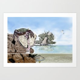 Crab vs Oyster Art Print