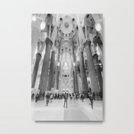 Inside the Sagrada Familia - BW Metal Print