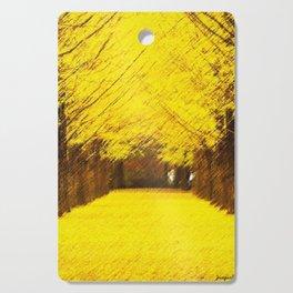Gingko Biloba Autumn Leaves Landscape Painting by Jéanpaul Ferro Cutting Board