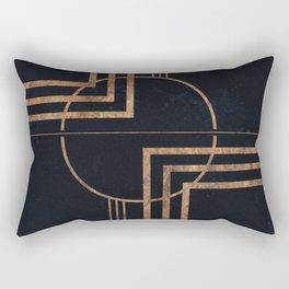 Art Deco Navy And Gold Geometric Print Rectangular Pillow