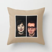 portlandia Throw Pillows featuring Portlandia Celebrated in Black Velvet by Gil Corral