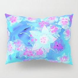 Blue and Hot Pink Succulent Underwater Sedum Flowers Pillow Sham