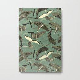 whales and waves aqua Metal Print