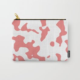Large Spots - White and Coral Pink Carry-All Pouch