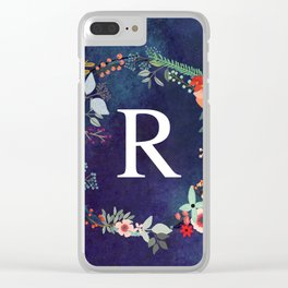 Personalized Monogram Initial Letter R Floral Wreath Artwork Clear iPhone Case