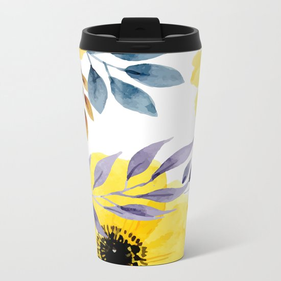 FLOWERS WATERCOLOR 10 Metal Travel Mug