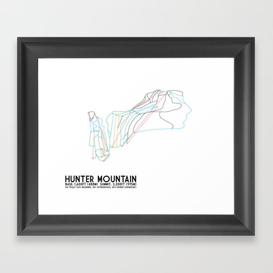 Hunter Mountain, NY - Minimalist Trail Art Framed Art Print