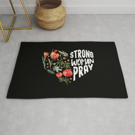 Strong Woman Pray Religious God Jesus FlowerChristianity Rug