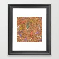 Squids of the inky ocean - retro colorway Framed Art Print