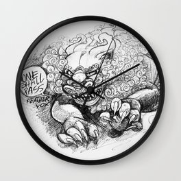 """Guardian Lion Sketch """"None Shall Pass"""" Wall Clock"""
