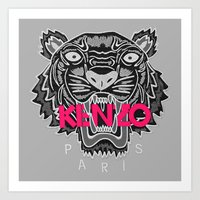 kenzo Art Prints featuring KENZO Tiger, pink letters by cvrcak