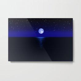 Morning Blue Moon Reflected in Dark Sea Metal Print