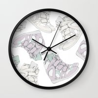 sneakers Wall Clocks featuring SNEAKERS/ISABEL.M by PAPERPLANESLMC ILLUSTRATIONS