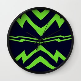 Green Lightning Stripes Wall Clock