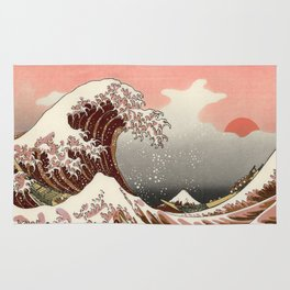 Japanese red sunset tsunami Rug