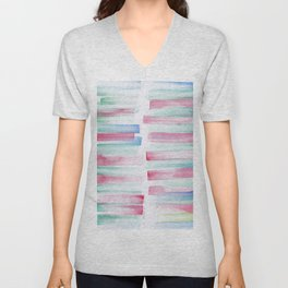 17 | 181101 Watercolour Palette Abstract Art | Lines | Stripes | Unisex V-Neck