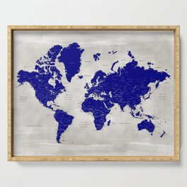 """Navy blue and grey detailed world map, """"Delaney"""" Serving Tray"""