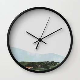 Mountain Vista with Big Sky and River, Winterscape Wall Clock