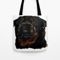 rottweiler Tote Bags featuring Male Rottweiler by taiche