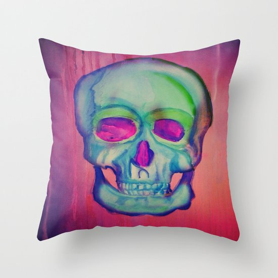 Watercolor skull/Blue Throw Pillow
